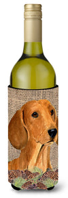 Buy this Dachshund on Faux Burlap with Pine Cones Wine Bottle Beverage Insulator Beverage Insulator Hugger