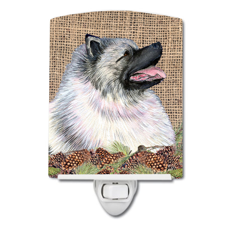 Buy this Keeshond on Faux Burlap with Pine Cones Ceramic Night Light SS4080CNL