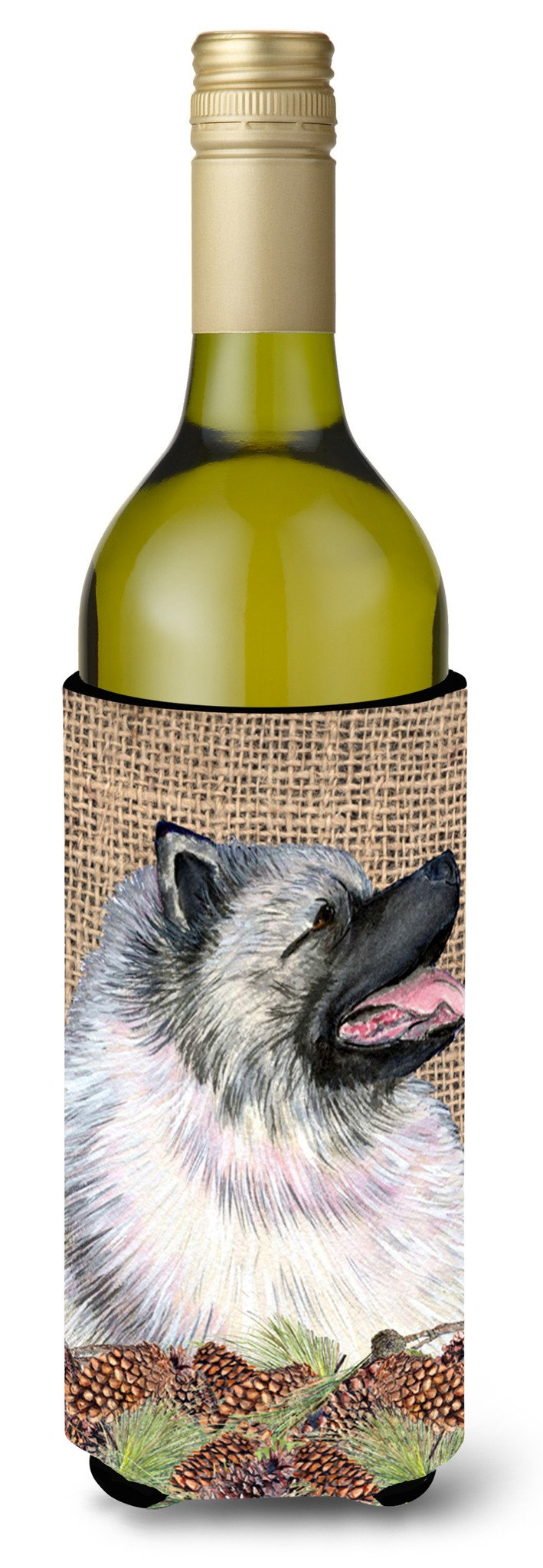 Keeshond on Faux Burlap with Pine Cones Wine Bottle Beverage Insulator Beverage Insulator Hugger by Caroline's Treasures