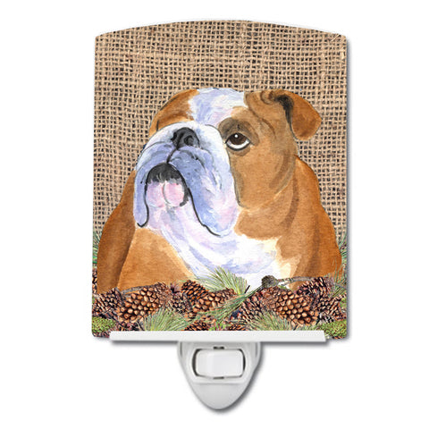 Buy this Bulldog English on Faux Burlap with Pine Cones Ceramic Night Light SS4082CNL