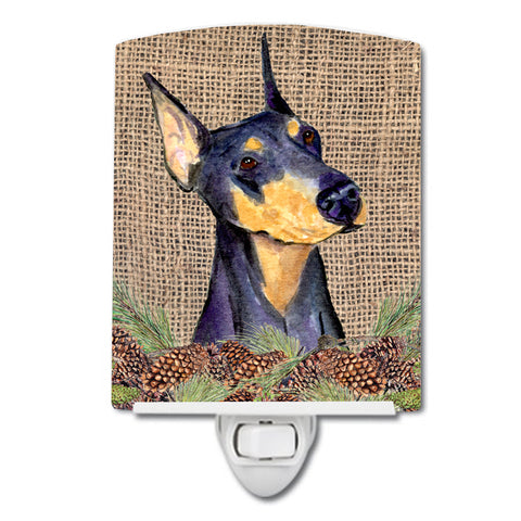 Buy this Doberman on Faux Burlap with Pine Cones Ceramic Night Light SS4085CNL