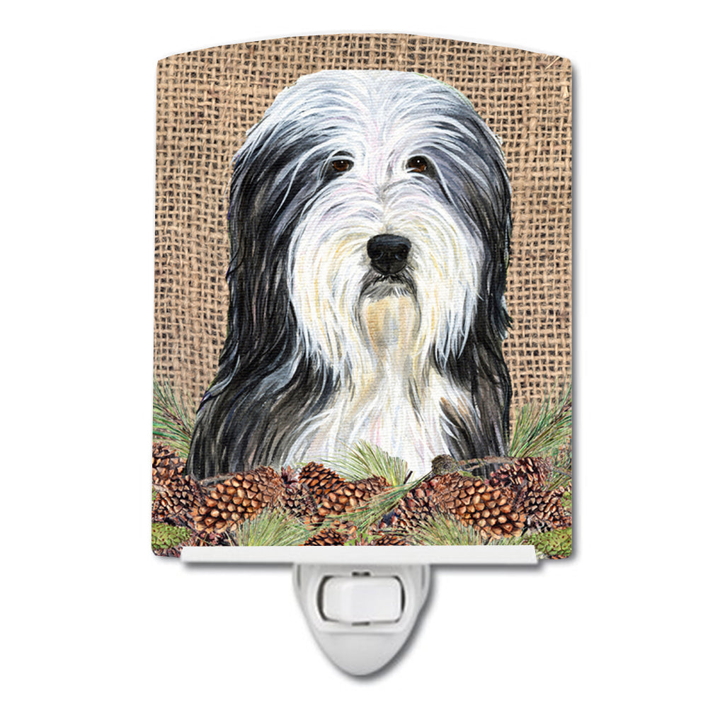 Buy this Bearded Collie on Faux Burlap with Pine Cones Ceramic Night Light SS4087CNL