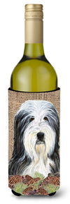Buy this Bearded Collie on Faux Burlap with Pine Cones Wine Bottle Beverage Insulator Beverage Insulator Hugger