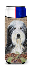 Bearded Collie on Faux Burlap with Pine Cones Ultra Beverage Insulators for slim cans SS4087MUK by Caroline's Treasures