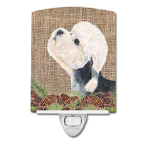 Buy this Dandie Dinmont Terrier on Faux Burlap with Pine Cones Ceramic Night Light SS4092CNL