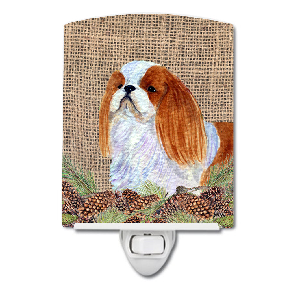 Buy this English Toy Spaniel on Faux Burlap with Pine Cones Ceramic Night Light SS4096CNL