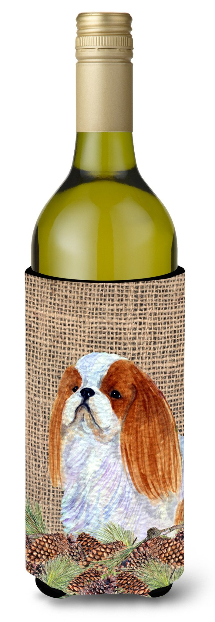 English Toy Spaniel on Faux Burlap with Pine Cones Wine Bottle Beverage Insulator Beverage Insulator Hugger by Caroline's Treasures