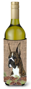 Brindle Boxer on Faux Burlap with Pine Cones Wine Bottle Beverage Insulator Beverage Insulator Hugger by Caroline's Treasures