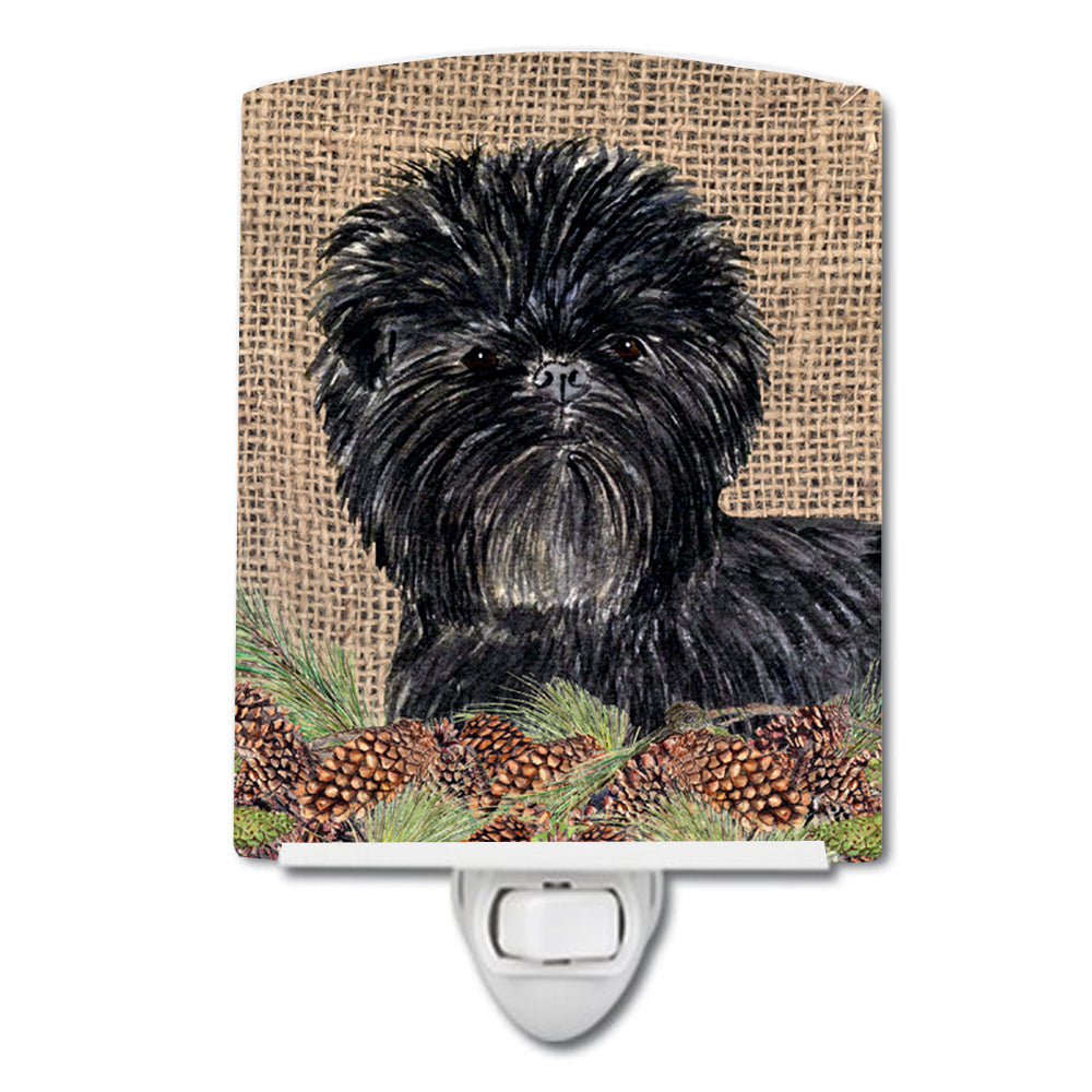 Buy this Affenpinscher on Faux Burlap with Pine Cones Ceramic Night Light SS4100CNL