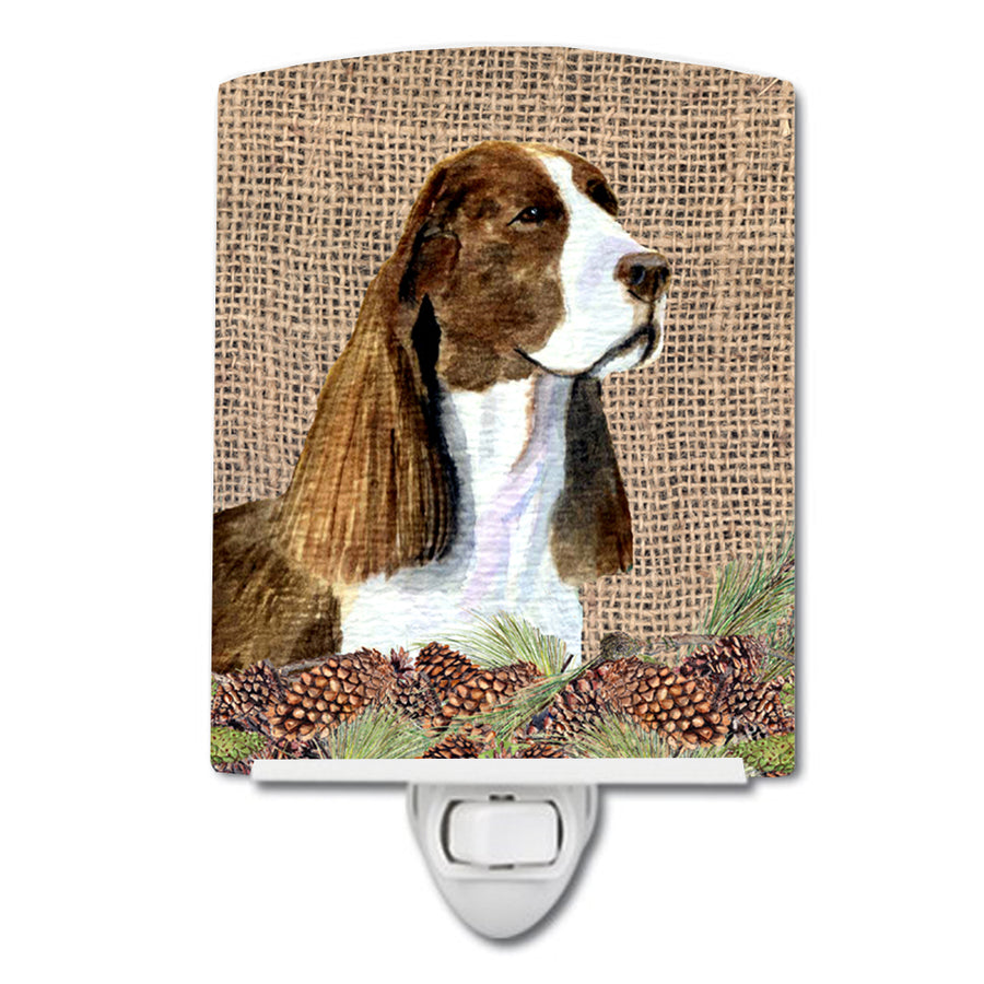 Buy this Springer Spaniel on Faux Burlap with Pine Cones Ceramic Night Light SS4102CNL