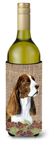Buy this Springer Spaniel on Faux Burlap with Pine Cones Wine Bottle Beverage Insulator Beverage Insulator Hugger