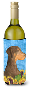 Doberman in Summer Flowers Wine Bottle Beverage Insulator Beverage Insulator Hugger by Caroline's Treasures