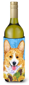 Corgi in Summer Flowers Wine Bottle Beverage Insulator Beverage Insulator Hugger - the-store.com