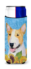 Bull Terrier in Summer Flowers Ultra Beverage Insulators for slim cans SS4129MUK by Caroline's Treasures