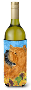 Chow Chow in Summer Flowers Wine Bottle Beverage Insulator Beverage Insulator Hugger SS4135LITERK - the-store.com