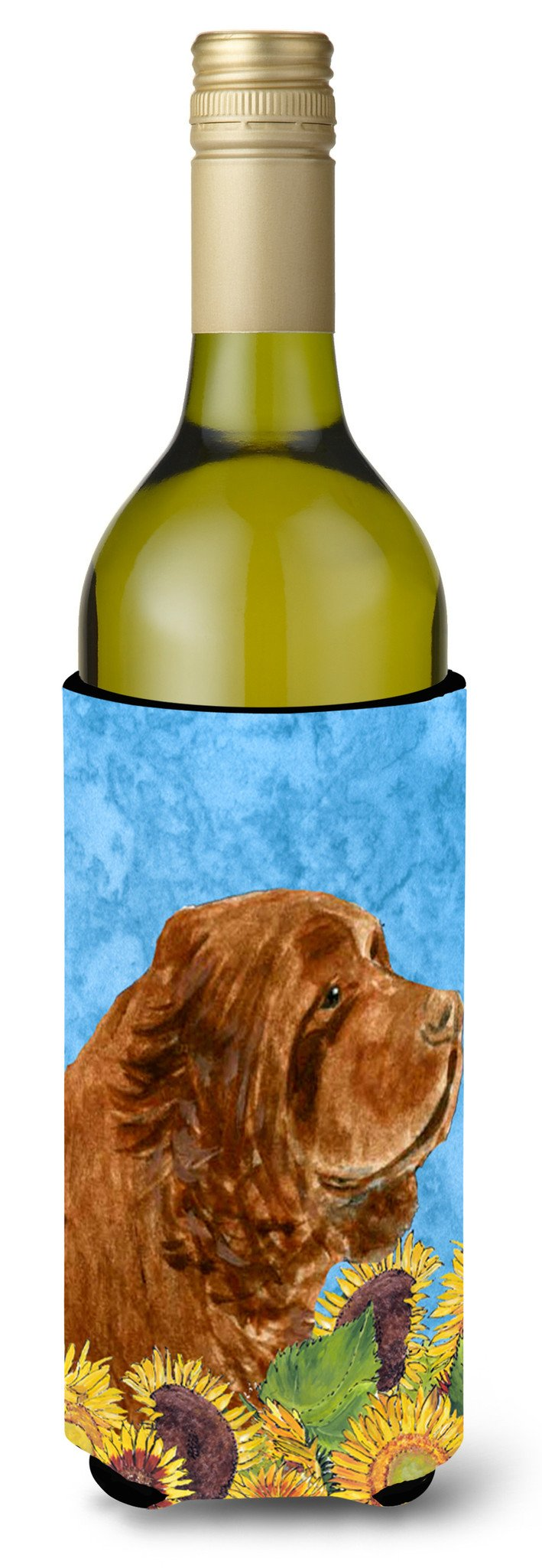 Sussex Spaniel in Summer Flowers Wine Bottle Beverage Insulator Beverage Insulator Hugger by Caroline's Treasures