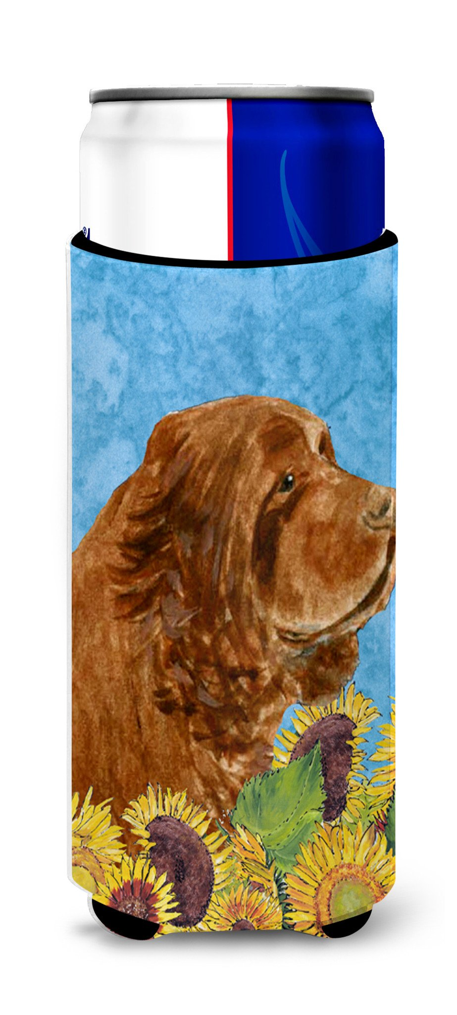 Sussex Spaniel in Summer Flowers Ultra Beverage Insulators for slim cans SS4143MUK by Caroline's Treasures