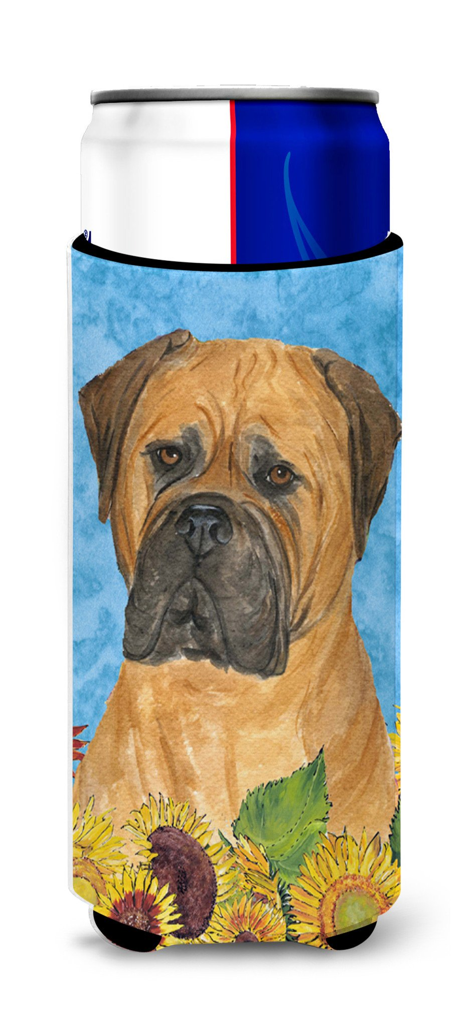 Bullmastiff in Summer Flowers Ultra Beverage Insulators for slim cans SS4150MUK by Caroline's Treasures