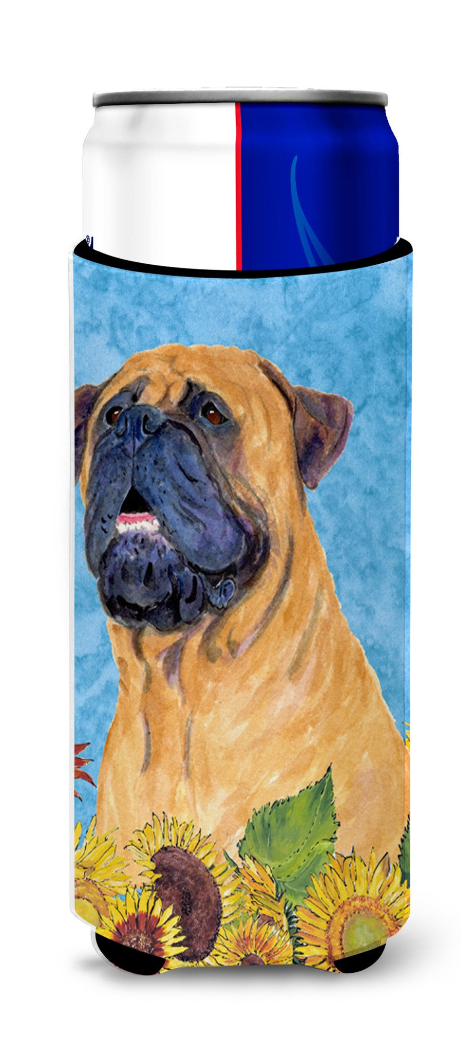 Bullmastiff in Summer Flowers Ultra Beverage Insulators for slim cans SS4153MUK by Caroline's Treasures