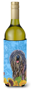 Buy this Bergamasco Sheepdog in Summer Flowers Wine Bottle Beverage Insulator Beverage Insulator Hugger