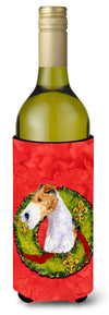 Fox Terrier Cristmas Wreath Wine Bottle Beverage Insulator Beverage Insulator Hugger by Caroline's Treasures