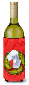 Buy this Bedlington Terrier Cristmas Wreath Wine Bottle Beverage Insulator Beverage Insulator Hugger