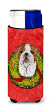 Bulldog English Cristmas Wreath Ultra Beverage Insulators for slim cans SS4174MUK by Caroline's Treasures