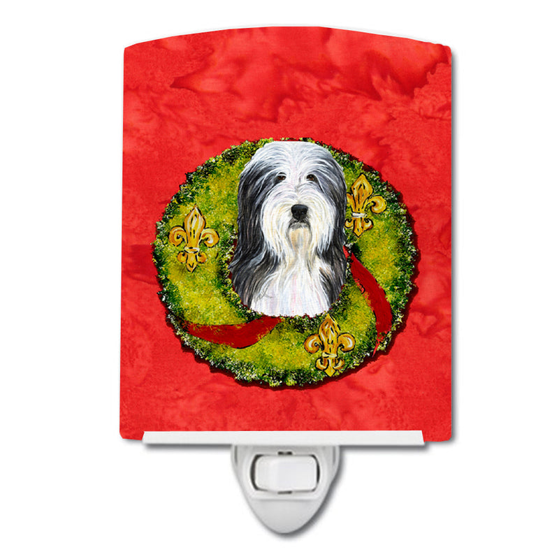 Buy this Bearded Collie Cristmas Wreath Ceramic Night Light SS4186CNL