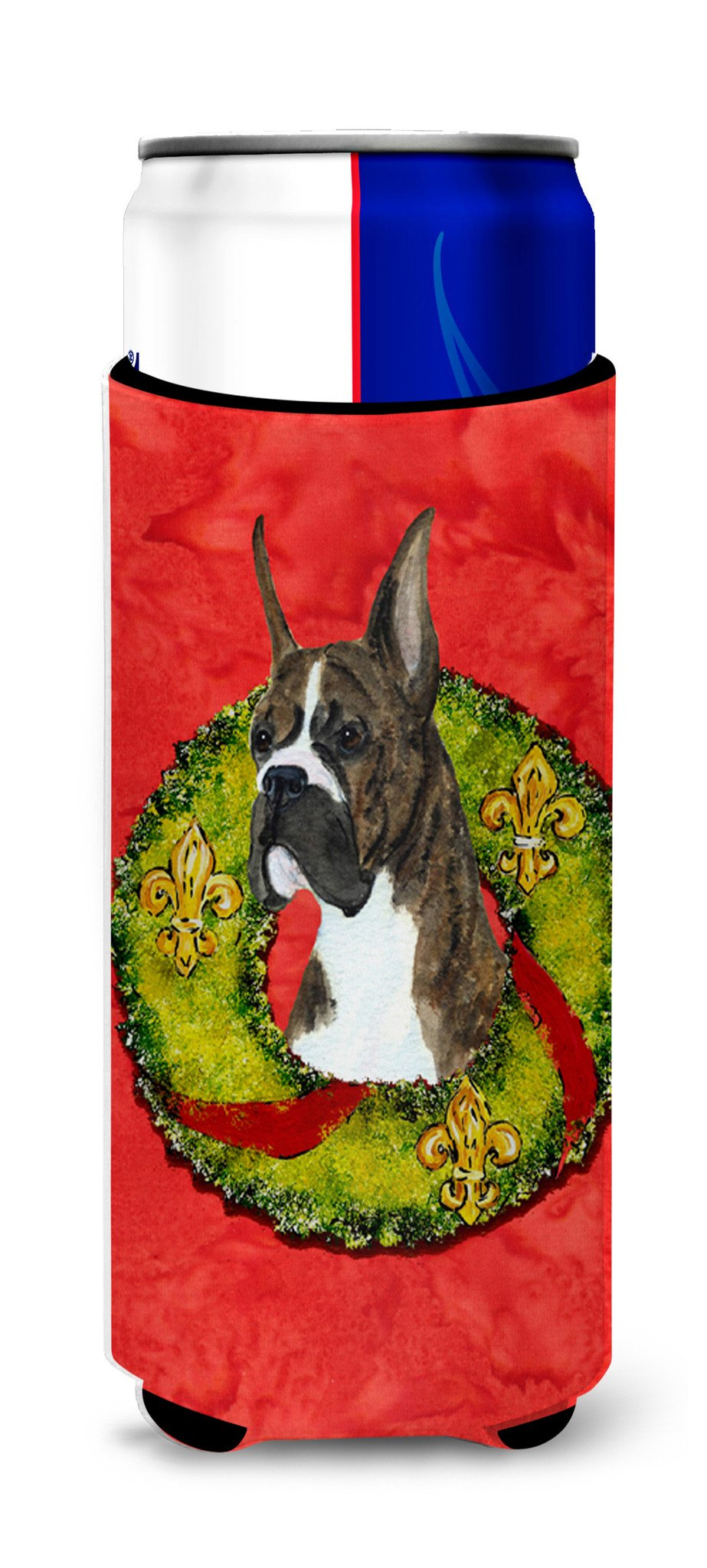 Brindle Boxer Cristmas Wreath Ultra Beverage Insulators for slim cans SS4195MUK by Caroline's Treasures