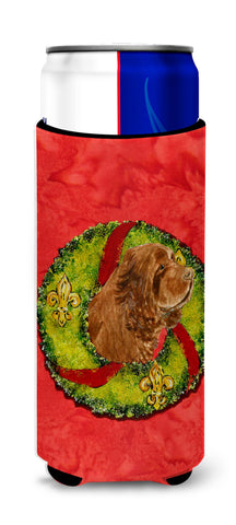 Buy this Sussex Spaniel Cristmas Wreath Ultra Beverage Insulators for slim cans SS4197MUK