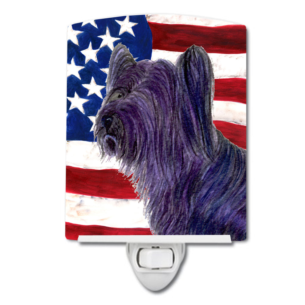 Buy this USA American Flag with Skye Terrier Ceramic Night Light SS4219CNL