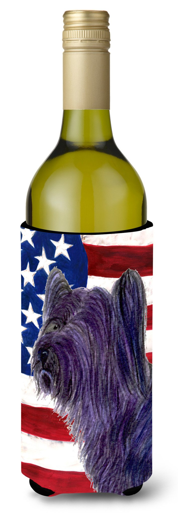 Buy this USA American Flag with Skye Terrier Wine Bottle Beverage Insulator Beverage Insulator Hugger