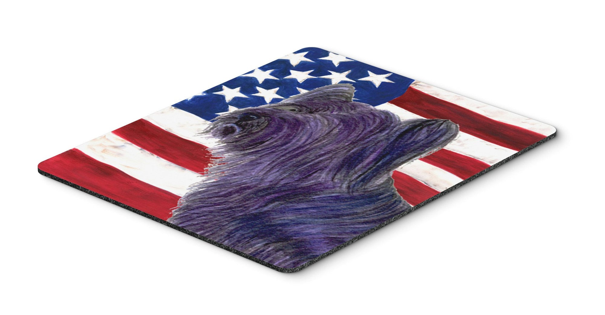 USA American Flag with Skye Terrier Mouse Pad, Hot Pad or Trivet by Caroline's Treasures