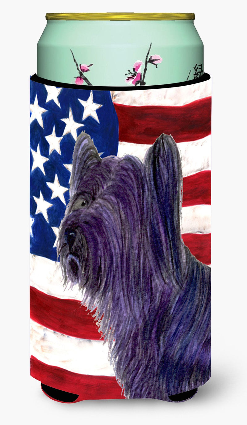 Buy this USA American Flag with Skye Terrier  Tall Boy Beverage Insulator Beverage Insulator Hugger