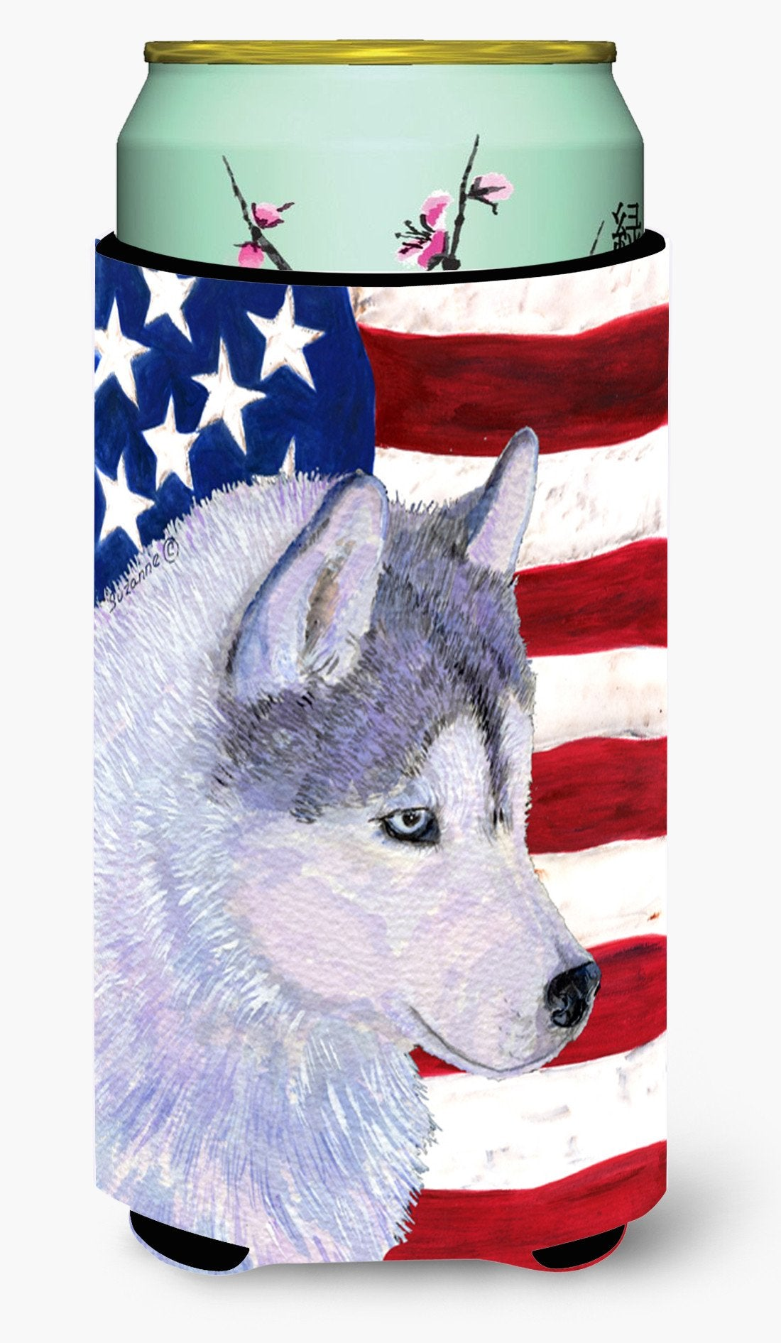 USA American Flag with Siberian Husky  Tall Boy Beverage Insulator Beverage Insulator Hugger by Caroline's Treasures