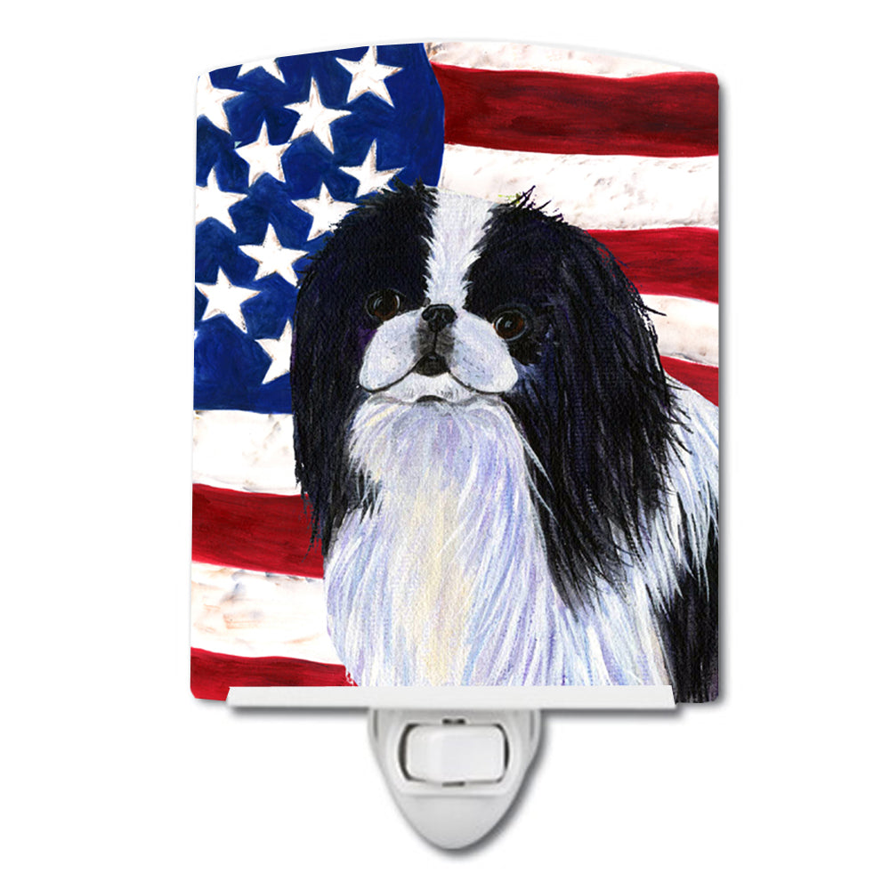 USA American Flag with Japanese Chin Ceramic Night Light SS4223CNL by Caroline's Treasures