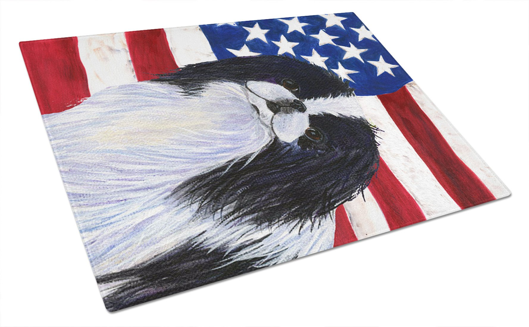 USA American Flag with Japanese Chin Glass Cutting Board Large by Caroline's Treasures