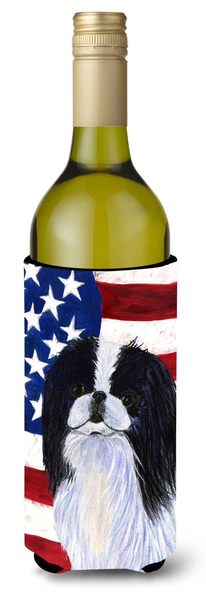 USA American Flag with Japanese Chin Wine Bottle Beverage Insulator Beverage Insulator Hugger by Caroline's Treasures