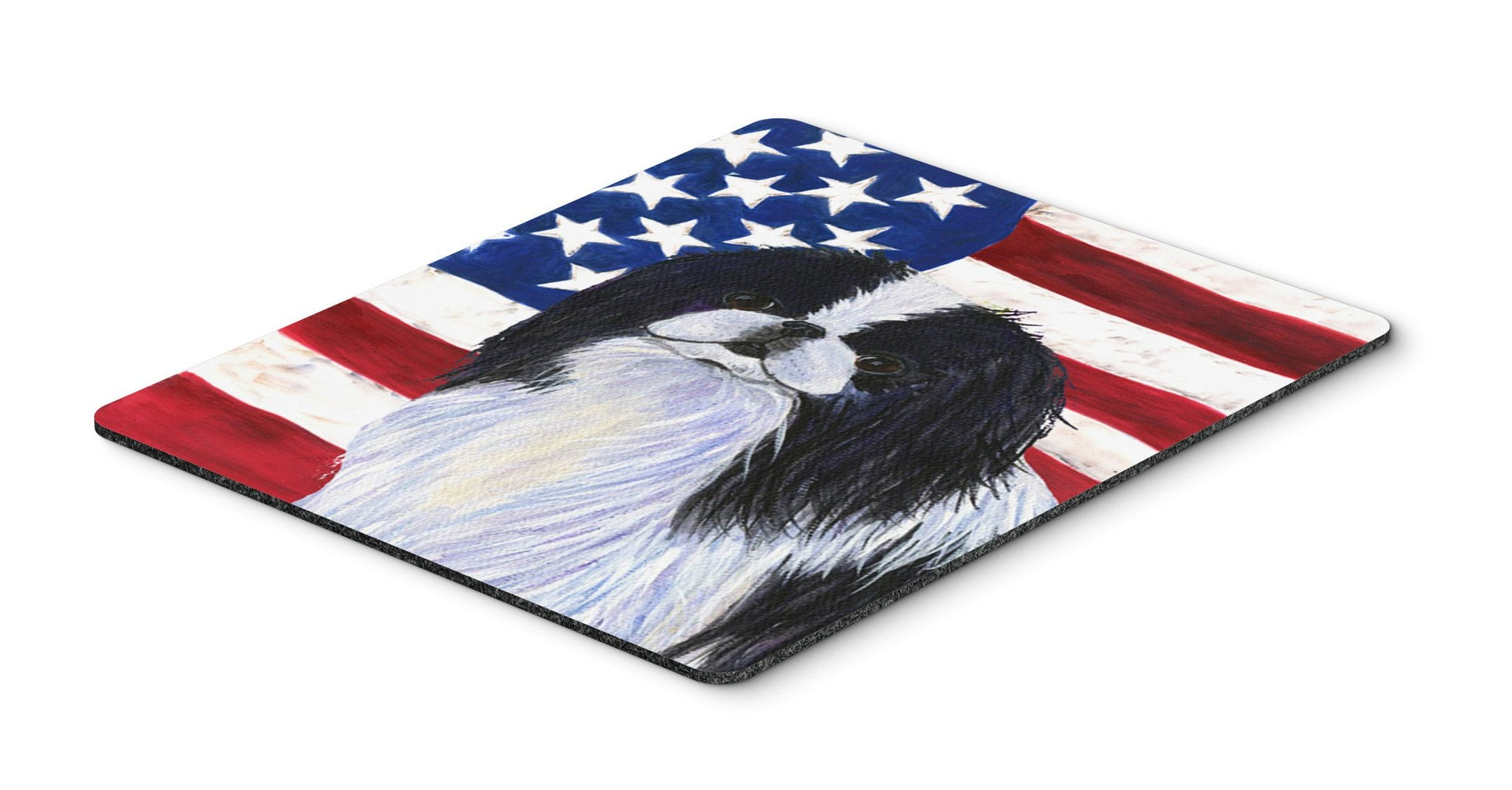 USA American Flag with Japanese Chin Mouse Pad, Hot Pad or Trivet by Caroline's Treasures