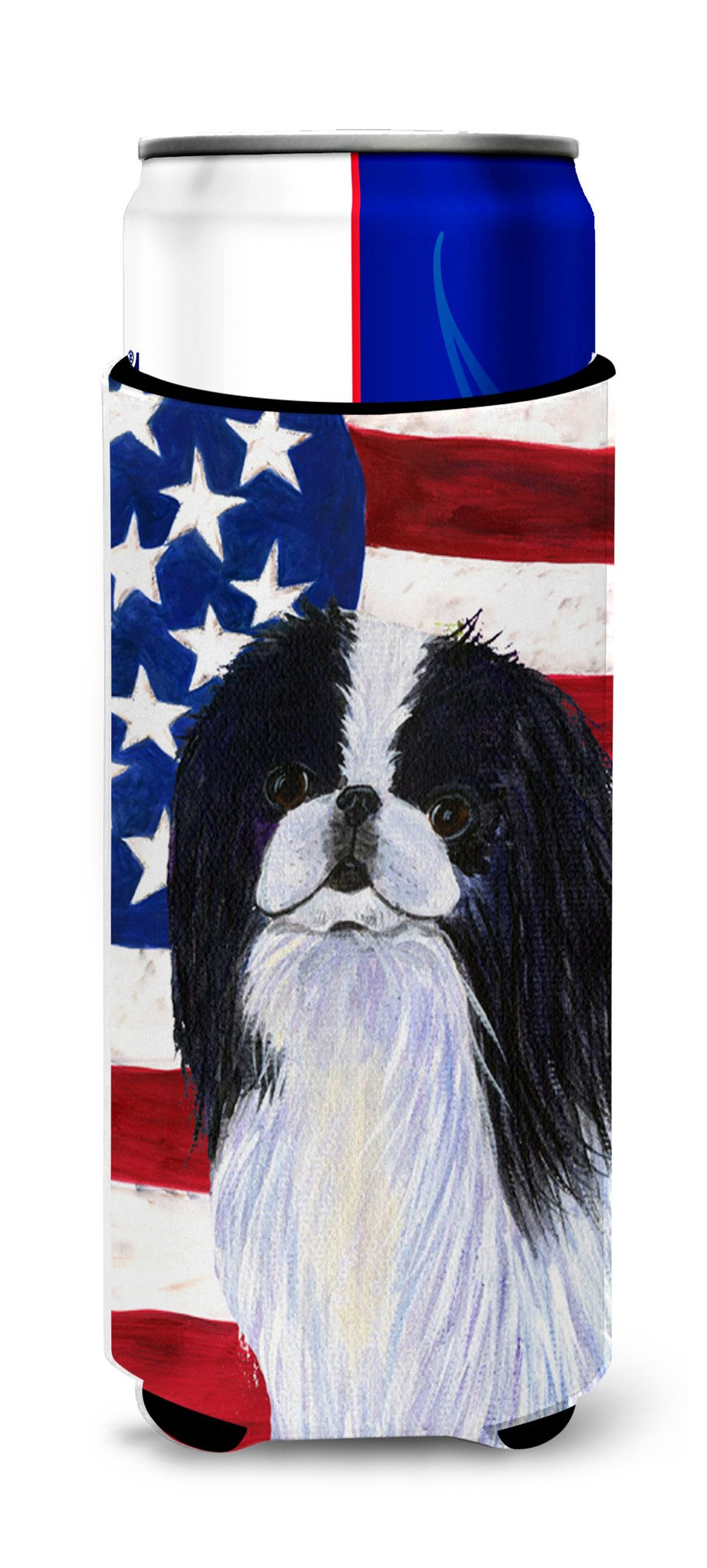 USA American Flag with Japanese Chin Ultra Beverage Insulators for slim cans SS4223MUK by Caroline's Treasures
