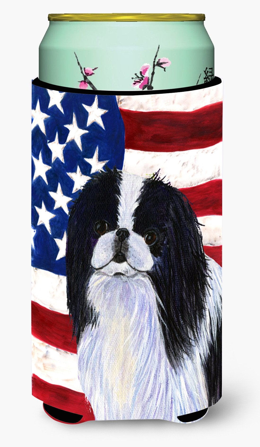 USA American Flag with Japanese Chin  Tall Boy Beverage Insulator Beverage Insulator Hugger by Caroline's Treasures