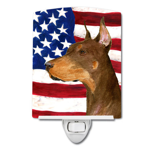 Buy this USA American Flag with Doberman Ceramic Night Light SS4224CNL