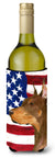 USA American Flag with Doberman Wine Bottle Beverage Insulator Beverage Insulator Hugger SS4224LITERK by Caroline's Treasures