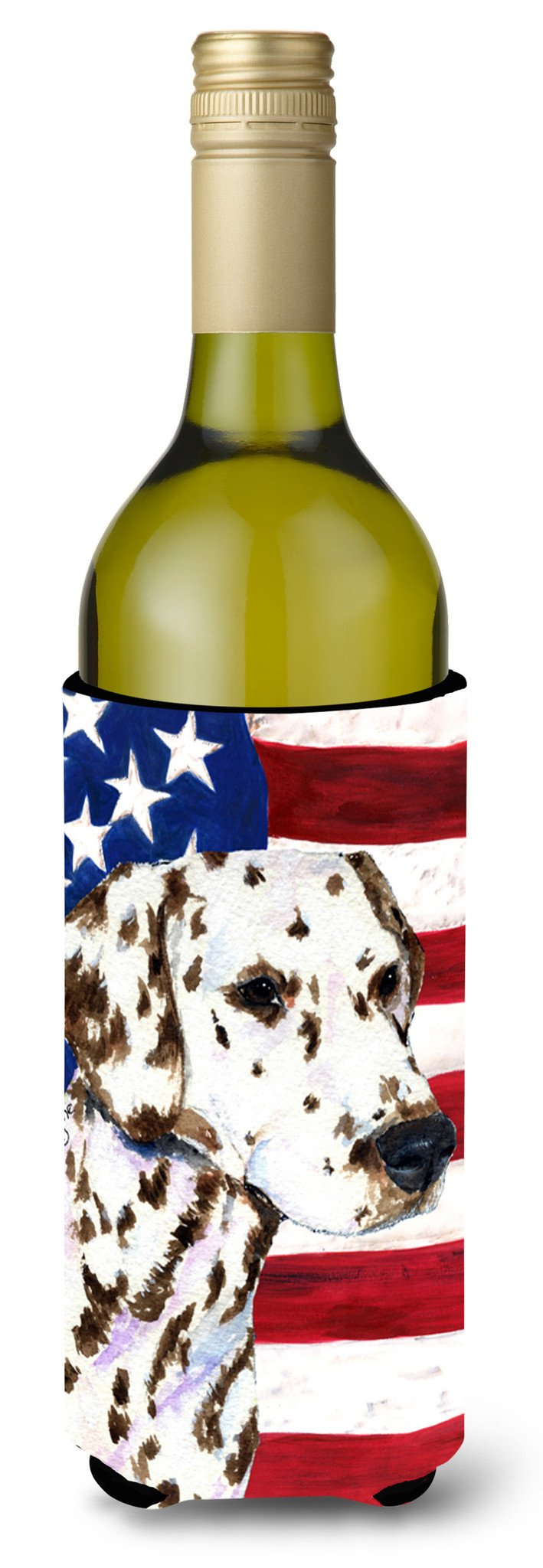 USA American Flag with Dalmatian Wine Bottle Beverage Insulator Beverage Insulator Hugger SS4225LITERK by Caroline's Treasures