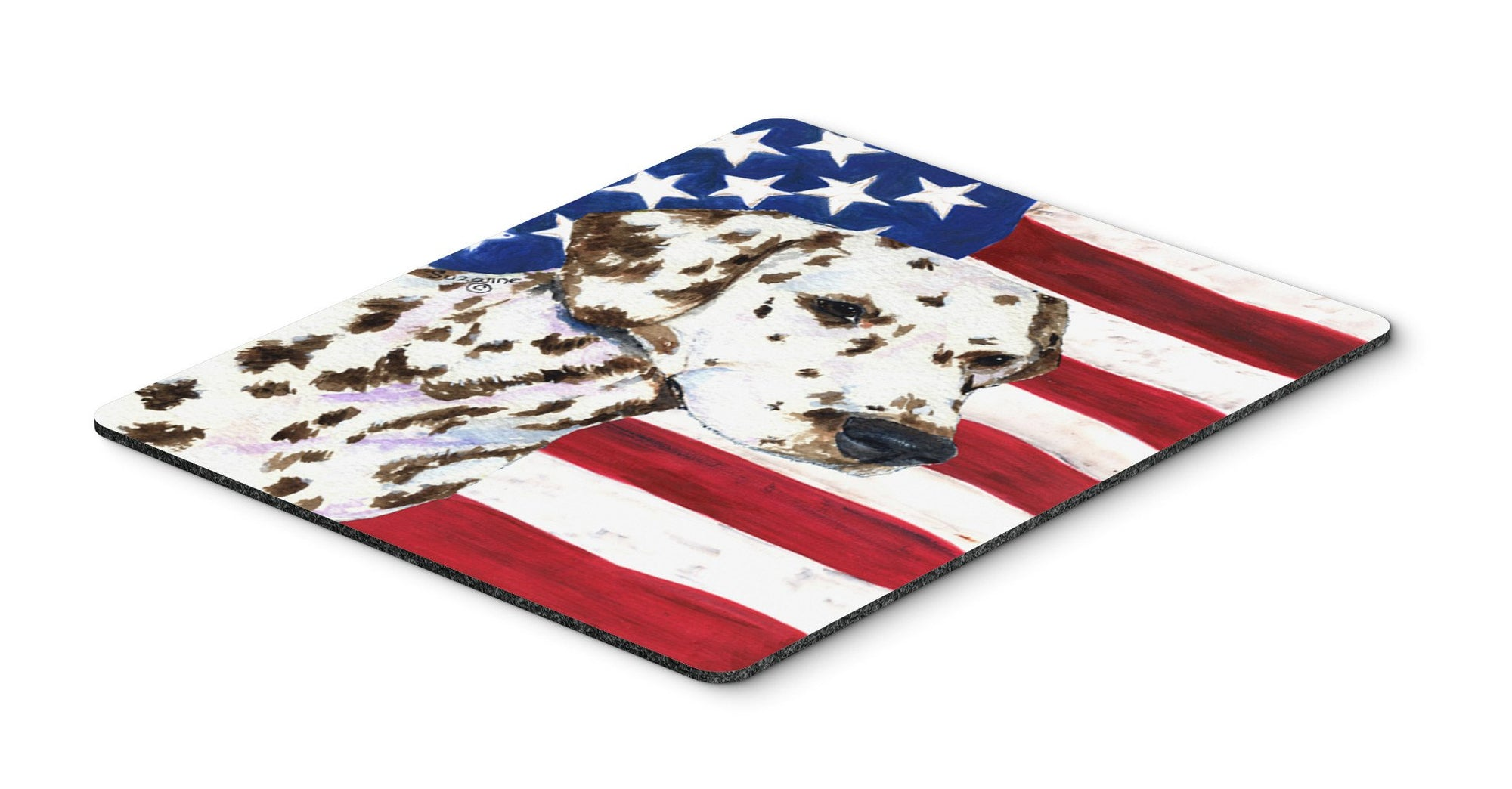 USA American Flag with Dalmatian Mouse Pad, Hot Pad or Trivet by Caroline's Treasures