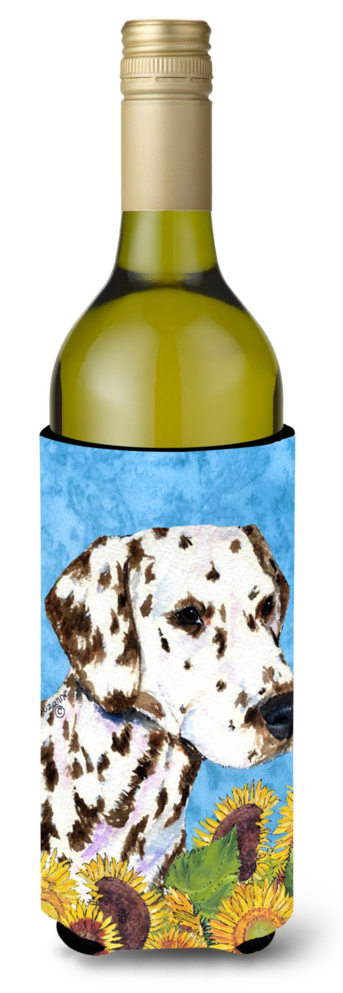 Dalmatian in Summer Flowers Wine Bottle Beverage Insulator Beverage Insulator Hugger SS4238LITERK by Caroline's Treasures