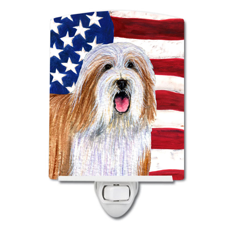 Buy this USA American Flag with Bearded Collie Ceramic Night Light SS4245CNL