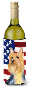 Buy this USA American Flag with Silky Terrier Wine Bottle Beverage Insulator Beverage Insulator Hugger