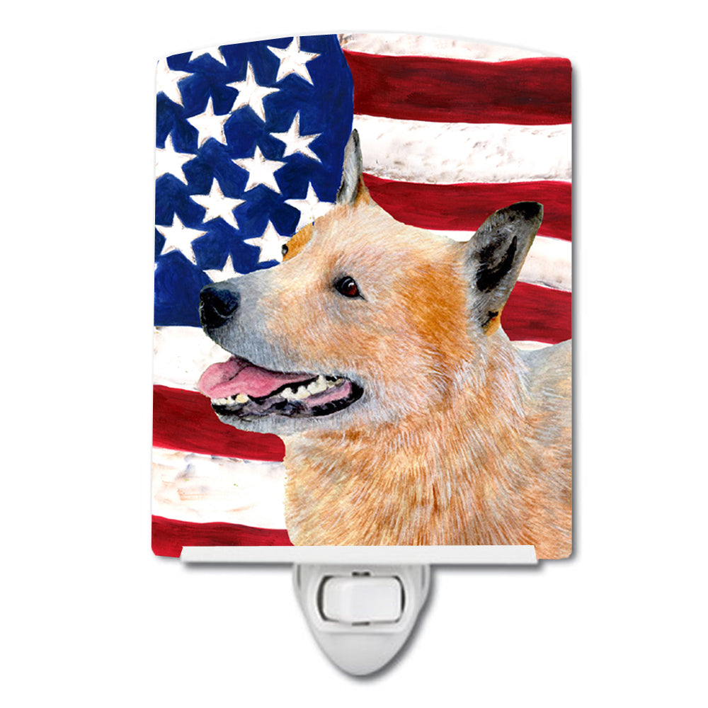 Buy this USA American Flag with Australian Cattle Dog Ceramic Night Light SS4251CNL