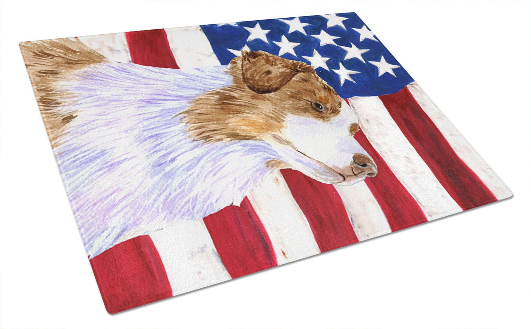 USA American Flag with Australian Shepherd Glass Cutting Board Large by Caroline's Treasures